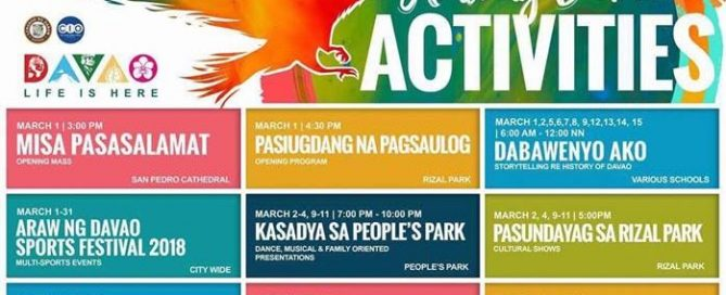 81st Araw Ng Davao Schedule of Activities