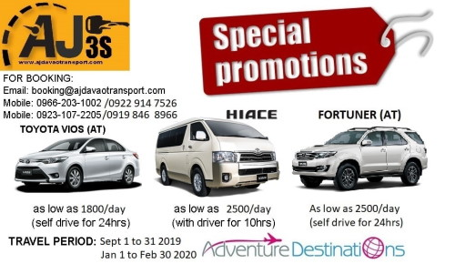 AJ3s Car Rental Promos